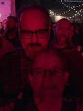 Terrible selfie of me and John and another enthusiastic concert goer